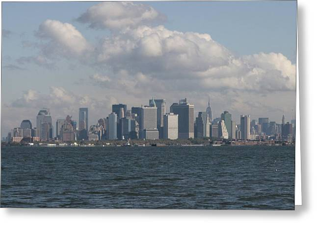 Manhattan And Governors Island Greeting Card by Christopher Kirby