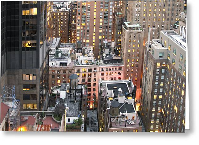 Manhattan At Dusk Greeting Card by Bob Slitzan