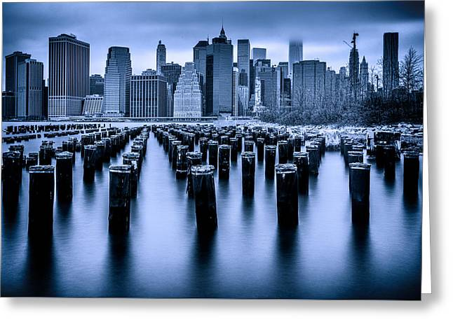 Greeting Card featuring the photograph Manhattan Blues by Chris Lord