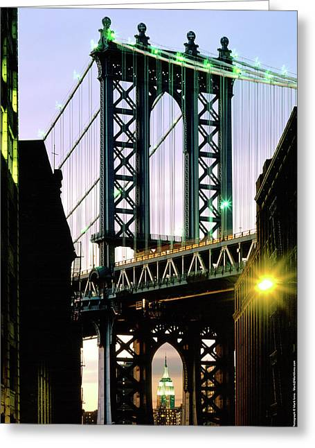 Manhattan Bridge And Empire State Building Greeting Card by Mark Ivins