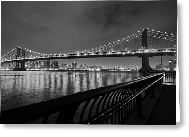Manhattan Bridge And Williamsburg Bridge Black And White Greeting Card by Toby McGuire