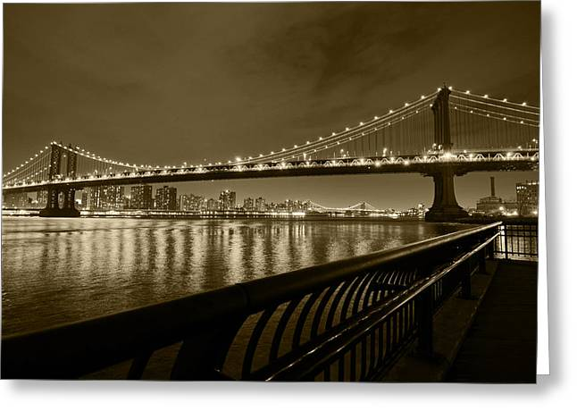 Manhattan Bridge And Williamsburg Bridge Sepia Greeting Card by Toby McGuire