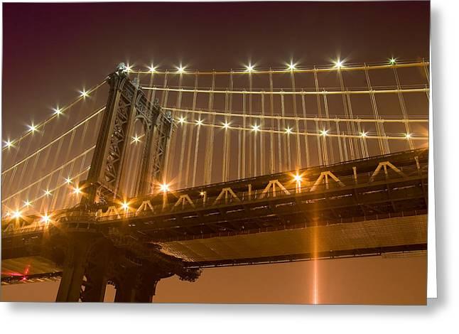 Manhattan Bridge At Night 1 Greeting Card