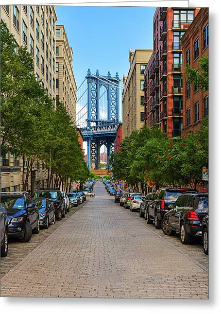 Greeting Card featuring the photograph Manhattan Bridge by Emmanuel Panagiotakis