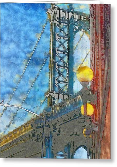 Manhattan Bridge In The Blue Shade, New York Greeting Card