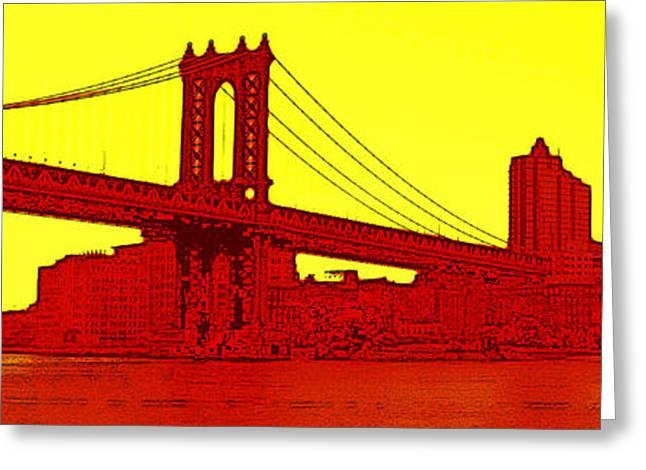 Manhattan Bridge Greeting Card by Julie Lueders