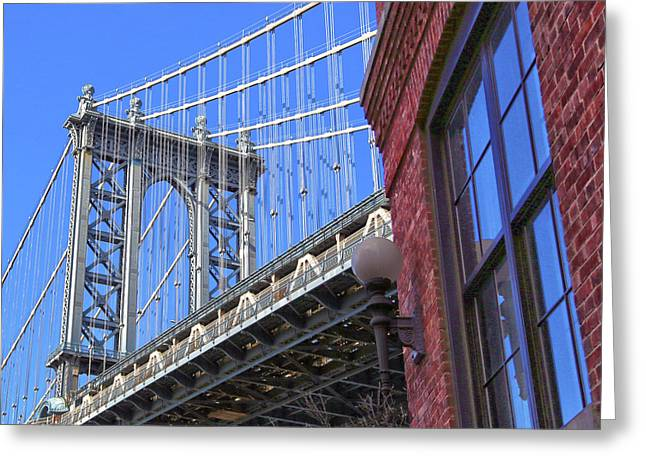 Greeting Card featuring the photograph Manhattan Bridge by Mitch Cat