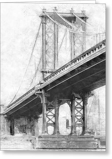 Manhattan Bridge Nyc Monotone Greeting Card