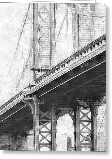 Manhattan Bridge Nyc Tall Bw Greeting Card