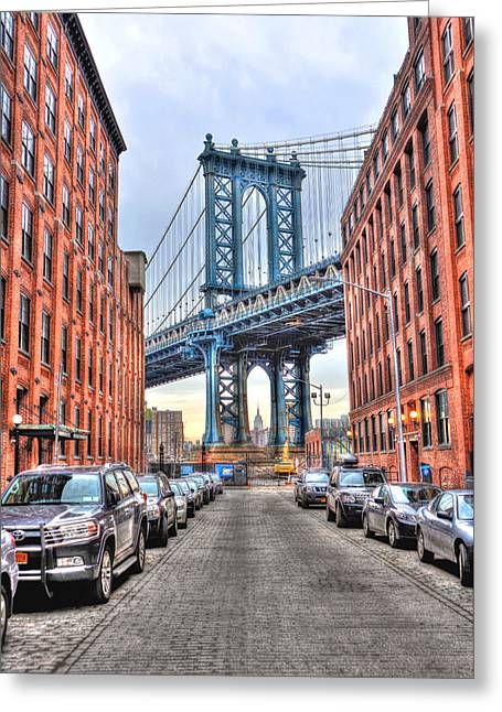 Manhattan Bridge Portrait From Dumbo Greeting Card by Randy Aveille