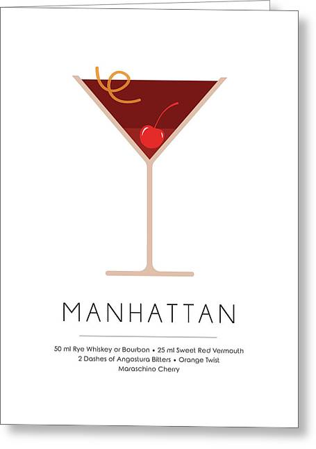 Manhattan Classic Cocktail - Minimalist Print Greeting Card