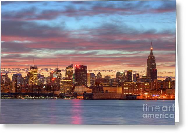 Manhattan Dawn Skyline I Greeting Card by Clarence Holmes