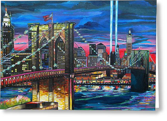 Twin Towers Greeting Cards - Manhattan Kinda Night Greeting Card by Patti Schermerhorn