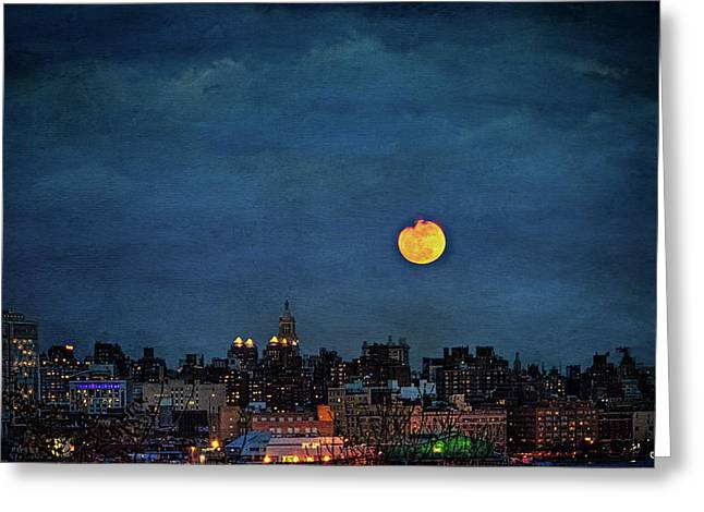 Manhattan Moonrise Greeting Card