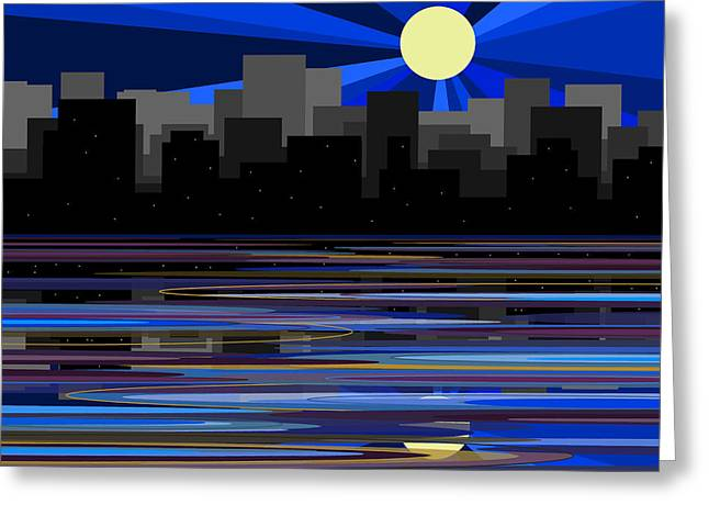 Manhattan Moonrise Greeting Card by Val Arie