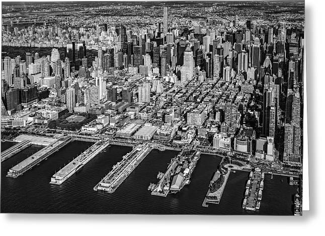 Manhattan New York City Aerial View Bw Greeting Card