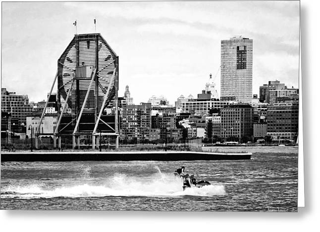 Manhattan Ny - Jet Skiing By Colgate Clock Black And White Greeting Card by Susan Savad