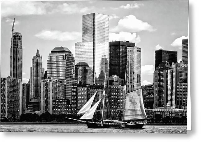 Manhattan Ny - Schooner Seen From Liberty State Park Black And White Greeting Card by Susan Savad