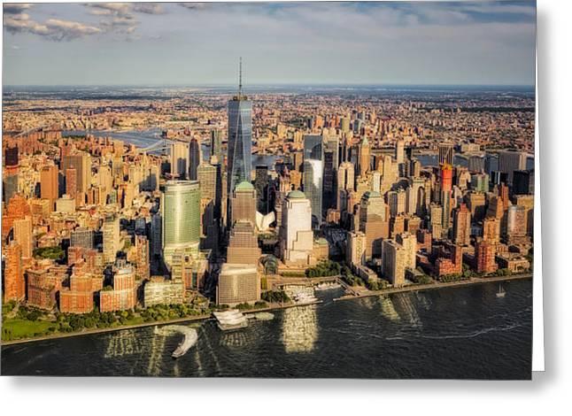 Manhattan Nyc Aerial View Greeting Card