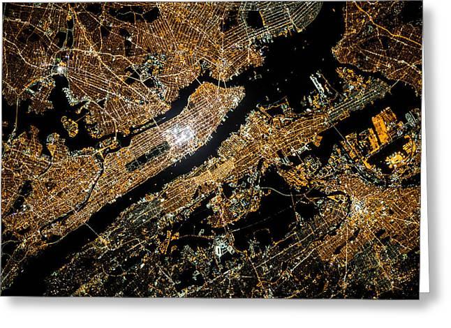 Manhattan Over View Greeting Card by Britten Adams