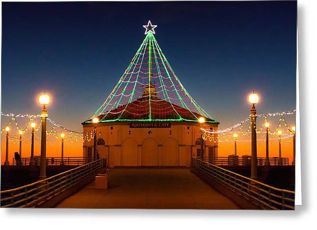 Manhattan Pier Christmas Lights Greeting Card