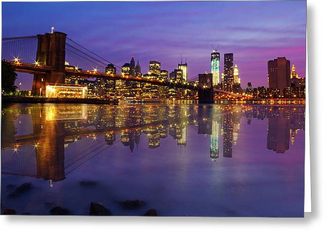 Greeting Card featuring the photograph Manhattan Reflection by Mircea Costina Photography