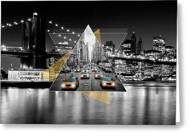 Manhattan Skyline And 5th Avenue - Geometric Collage Yellow Greeting Card