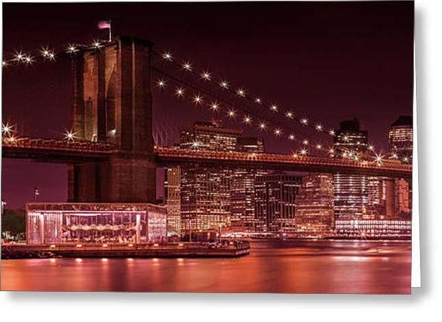 Manhattan Skyline And Brooklyn Bridge Evening Impressions - Panoramic  Greeting Card