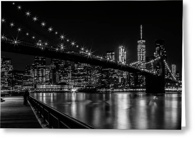 Manhattan Skyline And Brooklyn Bridge Gorgeous Nightscape Greeting Card