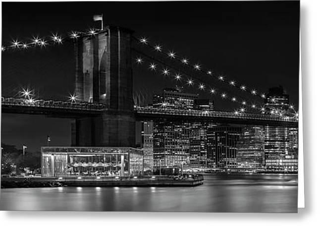 Manhattan Skyline And Brooklyn Bridge Nightly Impressions - Panoramic Greeting Card