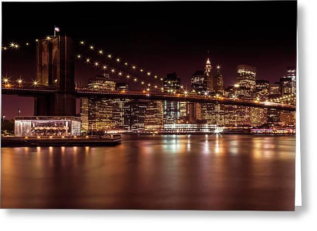 Manhattan Skyline And Brooklyn Bridge Sunset - Panoramic Greeting Card