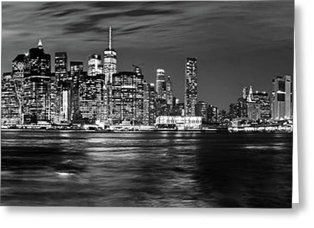 Manhattan Skyline At Dusk From Broklyn Bridge Park In Black And  Greeting Card