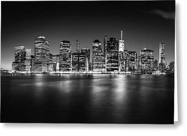 Manhattan Skyline At Night Greeting Card