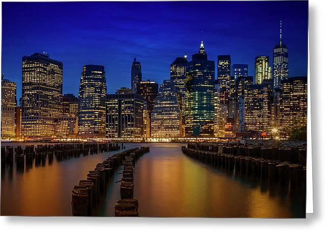 Manhattan Skyline Blue Hour Greeting Card