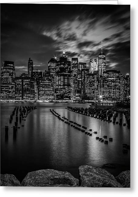 Manhattan Skyline Evening Atmosphere In New York City - Monochrome Greeting Card