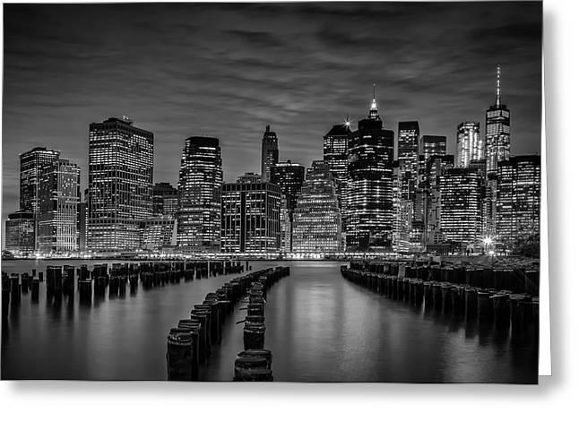 Manhattan Skyline Evening Atmosphere - Monochrome Greeting Card