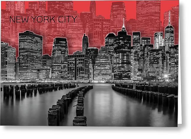 Manhattan Skyline - Graphic Art - Red Greeting Card