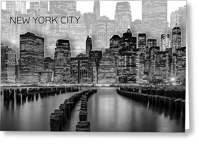 Manhattan Skyline - Graphic Art - White Greeting Card