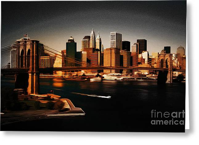 Manhattan Skyline Greeting Card by Gull G