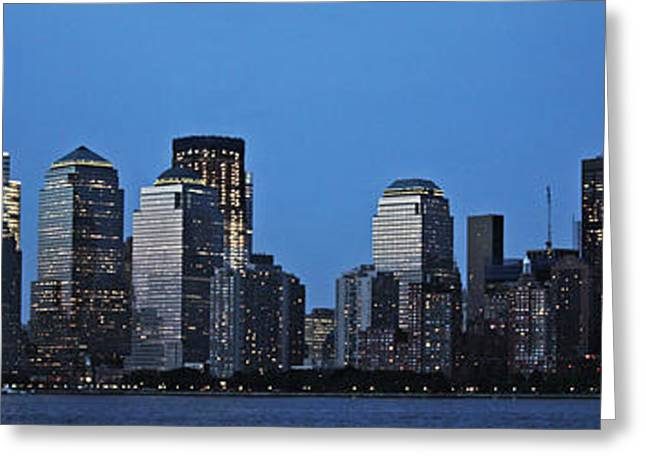 Greeting Card featuring the photograph Manhattan Skyline by John Haldane
