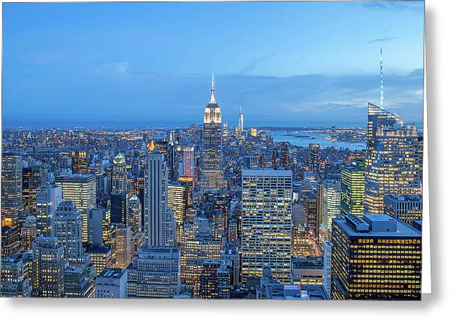 Manhattan Skyline New York City Greeting Card by Az Jackson