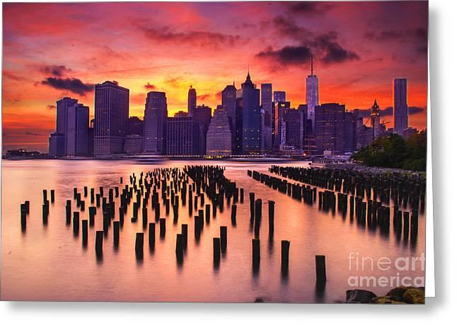 Manhattan Sunset Greeting Card