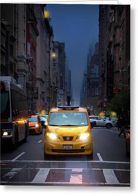 Manhattan Taxi On A Rainy Day Greeting Card