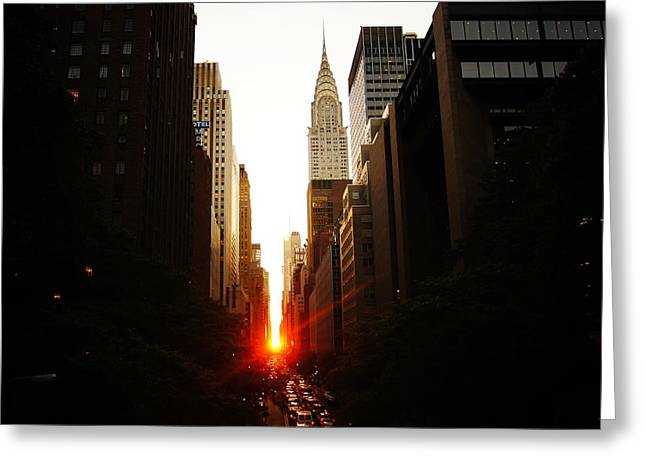 Manhattanhenge Sunset Over The Heart Of New York City Greeting Card by Vivienne Gucwa