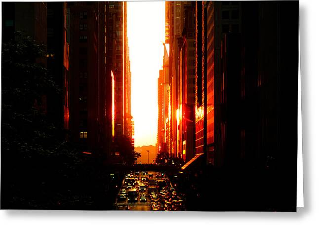 Manhattanhenge Sunset Overlooking Times Square - Nyc Greeting Card