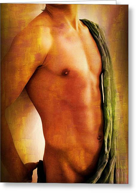 Bodybuilder Digital Greeting Cards - Manipulation In Yellow Greeting Card by Mark Ashkenazi