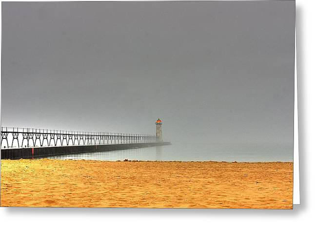 Manistee Light And Fog Greeting Card