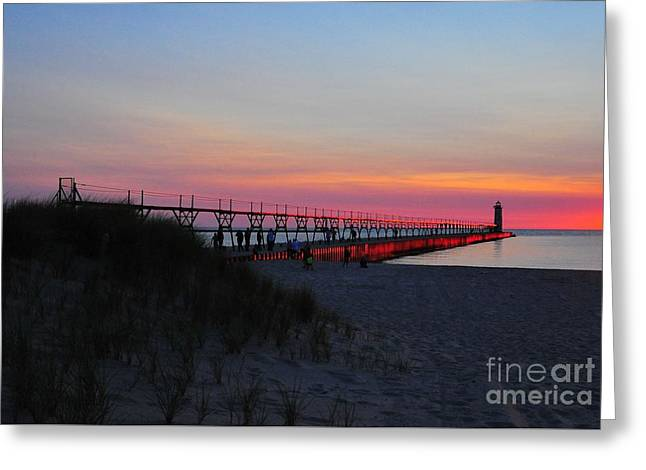 Manistee North Pierhead Lighthouse Twilight Greeting Card by Terri Gostola