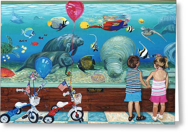 Manitee Aquarium With My Twins Greeting Card