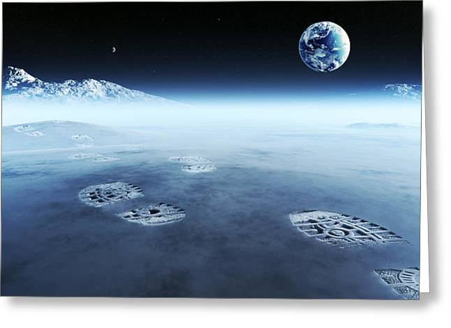 Mankind Exploring Space Greeting Card by Johan Swanepoel